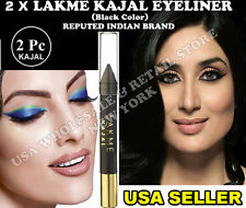 2  X LAKME KAJAL EYELINER - BLACK COLOR FAMOUS INDIAN BRAND - USA SELLER