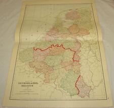 1911 Cram Antique COLOR Map/NETHERLANDS & BELGIUM, b/w SWITZERLAND