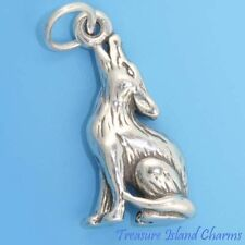 COYOTE HOWLING Wolf 3D .925 Solid Sterling Silver Charm Pendant MADE IN USA