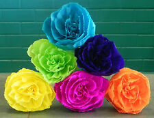 Mexican Crepe Paper Flowers Set of 6- Multicolor Roses By Julia Party Weddings