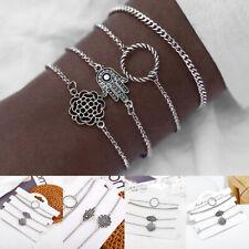 Palm Bracelet Bangle Chain Jewelry 4Pcs/Set Bohemian Women Lady Hollow Lotus