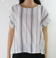 Melloday Women's Blouse Blue White Size XL Cuffed Striped Zipped $44- #185