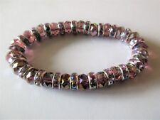 Bracelet violet perles cristal à facettes et strass, élastique.