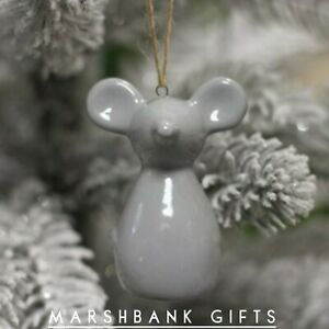 Grey Ceramic Mouse Hanger, 6.5cm SALE