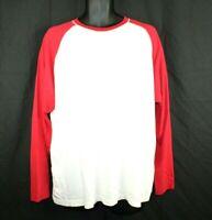 Old Navy Long Sleeve T-shirt Baseball style Men XXL White Red Tee D1