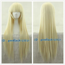 Chobits CHII 85cm long light blonde straight COSPLAY party wig + free wig cap