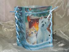 Deko Windlicht Hund und Katze am Fenster Tischlicht Unikat Geschenkidee