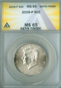 2009-P SATIN FINISH KENNEDY HALF DOLLAR ANACS MS-65 FREE S/H (2126519)