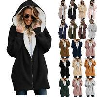 Women Winter Teddy Bear Fleece Fur Hoodies Coat Jacket Outwear Cardigan Overcoat