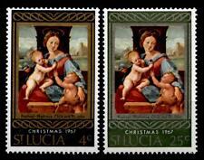Weihnachten. Madonna mit Kind. Gemälde Sanzio. 2W. St.Lucia 1967