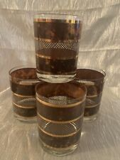 Georges Briard Brown/Gold Lattice Striped Bar/Cocktail Glasses Set of 4
