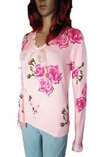 PAOLA DOTTI Womens Pink Roses Pattern Crochet Embellish Knit Top Blouse sz M AN8