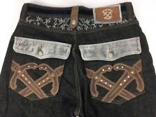 "Crown Holder Jeans Silver Velvet ""LEATHER"" Embroidery Studs Sz 32 AUTHENTIC"