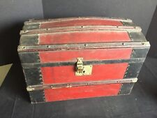 Antique Dome Top Wooden Doll Trunk with Papered Interior