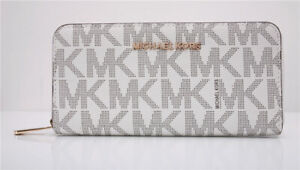 NWT Michael Kors MK Jet Set Continental Zip-Around Leather Wallet
