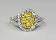 18k White Gold Oval Yellow Canary Diamond And White Diamond .77ct Ring Size 6