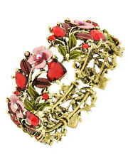 7f Brass Vintage Look Red Crystal Flower Bangle Stretch Bracelet
