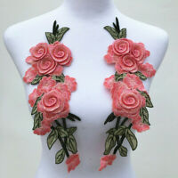 1 Pair Rose Flower Embroidery Sew On Patch Cloth Floral Collar Garment Applique