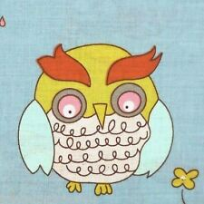M. STYLE Hoot OWL TWIN 2pc DUVET COVER SET BLUE GREEN COTTON RED PINK BROWN BIRD