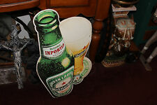 Vintage Heineken Beer Metal Advertisement Sign-Beer Bottle W/Glass-Breweriana