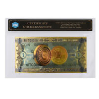 One Dollar Bitcoin 24k Gold Plated Gold Banknote Colorful  Bill Note with COA