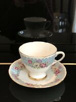 Vintage Gladstone Fine Bone China Teacup and Saucer Made in England Power Blue