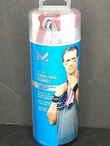 """Mission ENDURACOOL, Cooling Towel cools instantly. 12"""" X 33"""" USA Flag Drew Brees"""