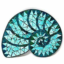 "DeJon Glass Mosaic Nautilus Shell Wall Plaque Blue 13"" L X 10"" W X .5"" H"