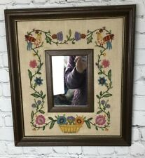 Vintage Needlepoint Picture In Gold Trimmed Framed With Mirror In Center