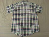 Mens Brooks Brothers Linen Dress Shirt M Medium Blue Plaid Short Sleeve