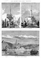 HMS GLATTON Scenes on Board - Antique Print 1872