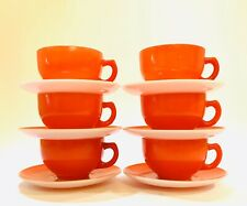 Set Of Six Tea Cups & 6 Saucers ~ Red With White Pink Milk Glass Vintage Coffee