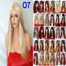 Womens Halloween Fashion Costume Burgundy Plum Red Ash Pale Blonde Black WIGS