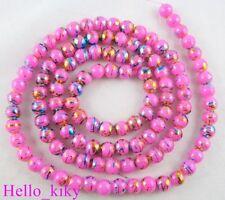 2 Str Peachblow glass pearl confetti beads 6mm M1297