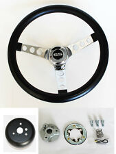 "64-66 Nova Impala Bel Air Chevelle Grant Black Steering Wheel 13 1/2"" SS cap"
