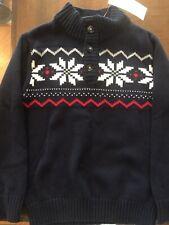 Gymboree Boys New Navy Sweater Top Winter Siz S 5-6 Christmas