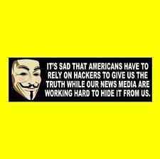 """ANONYMOUS VS. FAKE NEWS"" Anti Liberal Media BUMPER STICKER hacker CNN MSNBC CBS"