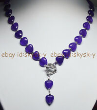 12MM Purple Amethyst Heart Gems Beads Pendant Necklace Tibetan silver Love Clasp