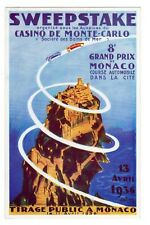 POSTCARD MONACO GRAND PRIX 1936 AUTO RACING AND SWEEPSTAKE BY CASINO