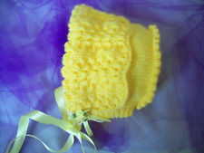Baby Girls Clothes Yellow LACY BONNET flower ribbon bows HAND KNITTED 0 - 3 mths