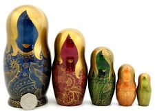 UNIQUE Russian nesting 5 DOLLS GOLD Paisley Pattern Blue Red Green Matryoshka