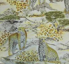 "3 YARD lot! X 58"" wide RAYON silky Cheetah Leopard wild big CATS sewing FABRIC"