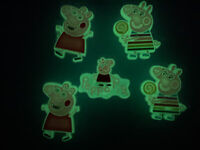 Glow In Dark Peppa Pig Lot 5 Shoe, Bracelet &Lace Adapter Charms Fit Crocs Shoes