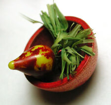 Vintage Composition Button Colorful Realistic radish in a Bowl - 2/3""