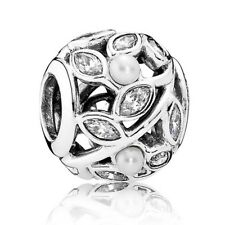 PANDORA Charm 791754P Luminous Leaves Pearl Sterling Silver Retired RRP $85