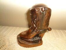 Vintage Metal Cowboy Boot Bank, Copper Gilded