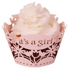 Decorations Case 12Pcs Pearly Paper It'S A Girl Design Vine Lace Cup Cake