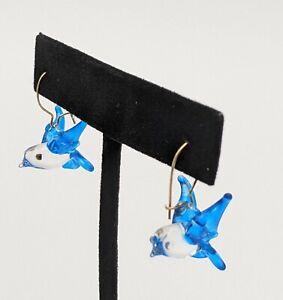 Dainty Fused Art Glass Blue winged Bird Dangle Earrings for Pierced Ears