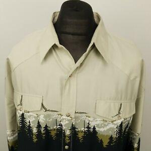 ROPER Mens Vintage Western Shirt Snap UK 3XL (US 2XL) Black Regular Eagle