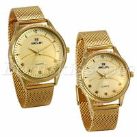Couples Luxury Gold Tone Stainless Steel Mesh Band Luminous Quartz Wrist Watch